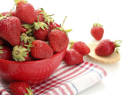 sweet ripe strawberries in bowl isolated on white Stock Photo - 14441630