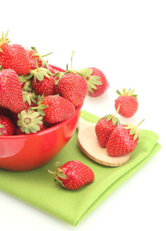sweet ripe strawberries in bowl isolated on white Stock Photo - 14458822