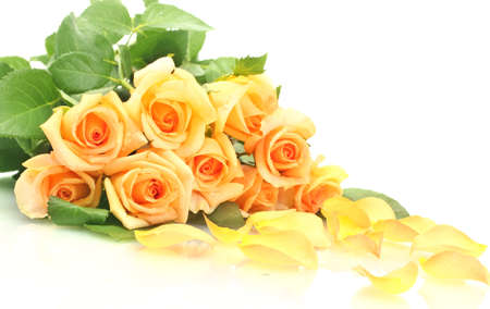 valentinas: beautiful bouquet of roses and petals isolated on white