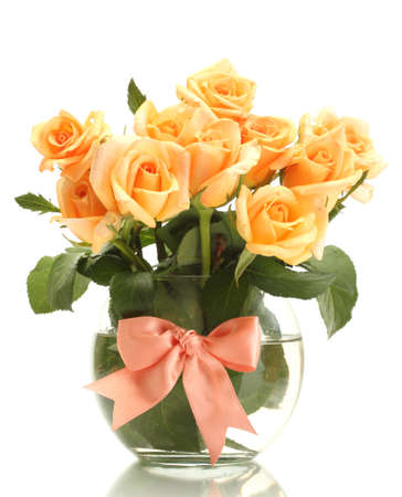 valentinas: beautiful bouquet of roses in transparent vase isolated on white