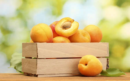 ripe apricots with leaves in wooden box on wooden table on green background photo