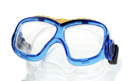 swim goggles: gafas de nataci�n azul aisladas en blanco Foto de archivo
