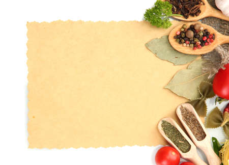 recipe: paper for recipes,vegetables and spices, isolated on white