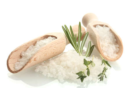 salt with fresh rosemary and thyme isolated on white photo