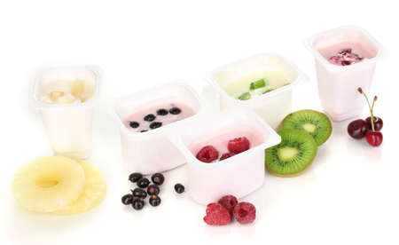 Yogurt with fruits and berries isolated on white photo
