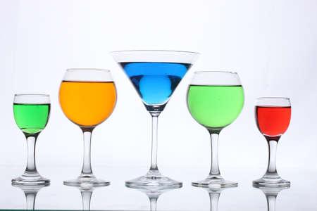 alcoholic cocktails isolated on white photo
