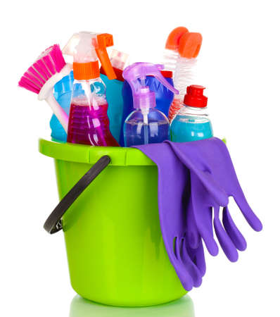 Cleaning items in bucket isolated on white Stock Photo