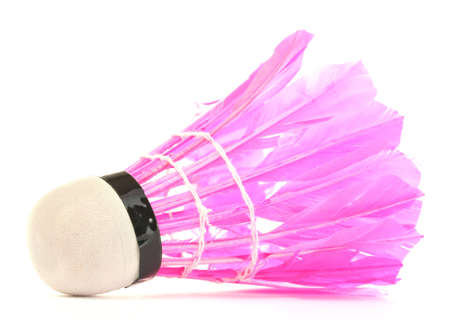 pink feather shuttlecock isolated on white photo