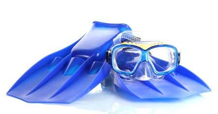 scuba mask: blue flippers and mask isolated on white