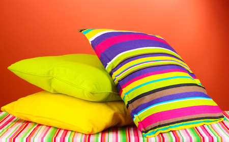 pillows on red background photo
