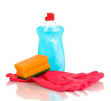 Dishwashing liquid with gloves and sponge isolated on white photo