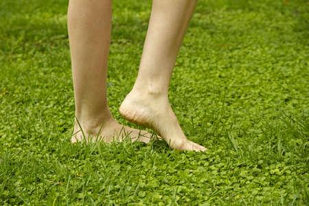 Legs walking on lawn photo