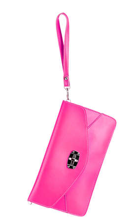 beautiful pink leather woman bag isolated on white photo