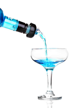 Tasty blue cocktail isolated on white photo