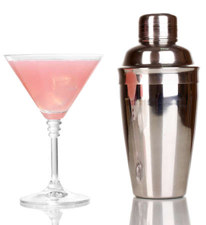 bar tool: Tasty pink cocktail isolated on white Stock Photo