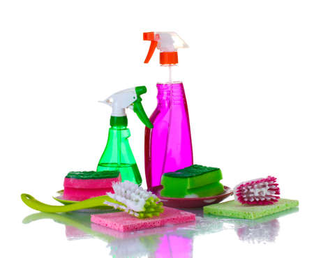 Washing dishes. Cleaning products isolated on white background photo