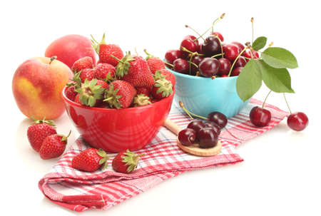 Ripe strawberries and cherry berries in bowls isolated on white Stock Photo - 14524389
