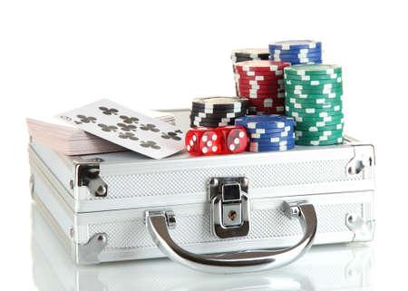 Poker set on a metallic case isolated on white background Stock Photo - 14533280