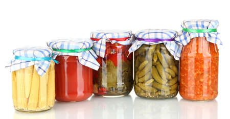 Jars with canned vegetables isolated on white Stock Photo - 14533309