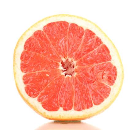 Half of ripe grapefruit isolated on white photo