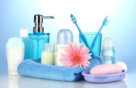 personal accessory: bathroom setting on blue background Stock Photo