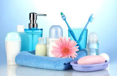 bathroom setting on blue background Stock Photo