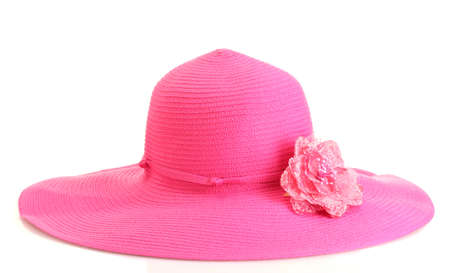Beautiful summer woman hat with flower isolated on white background Stock Photo - 14536773
