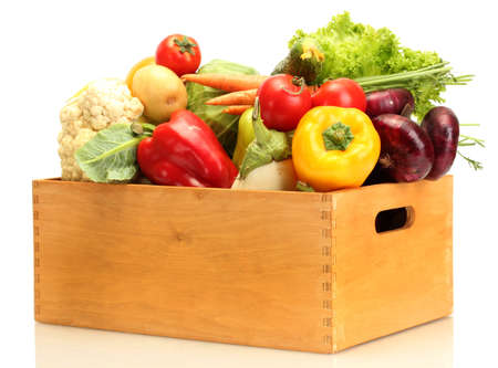 white box: Fresh vegetables in wooden box isolated on white