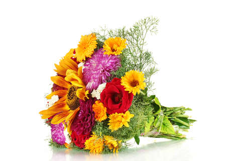 ronantic: beautiful bouquet of bright flowers, isolated on white