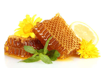 sweet honeycombs with mint, lemon and flowers isolated on white photo