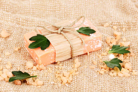 Hand-made natural soap on sackcloth Stock Photo - 14536718