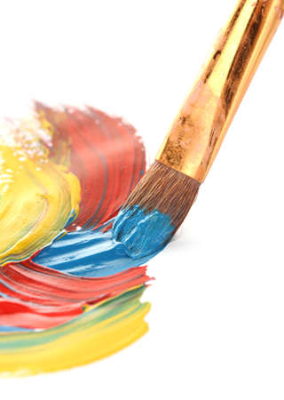 Abstract gouache paint and brush, isolated on white photo