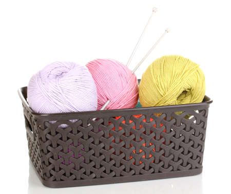 Knitting yarn in plastic basket isolated on white photo