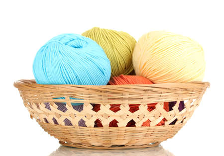 Knitting yarn in basket isolated on white photo