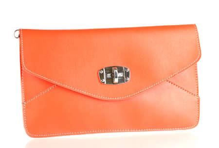 leather woman: beautiful orange leather woman bag isolated on white Stock Photo