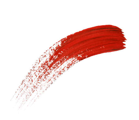 paint brush stroke: Abstract gouache paint and brushes, isolated on white Stock Photo