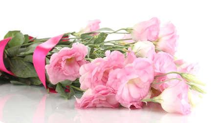 bouquet of eustoma flowers, isolated on white photo