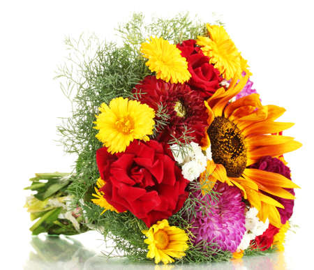 beautiful bouquet of bright flowers, isolated on white