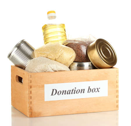 Donation box with food isolated on white Stock Photo - 14707015