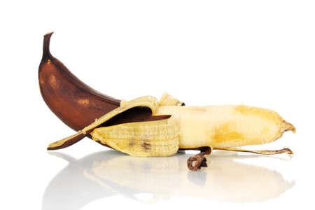 spoiled banana isolated on white photo