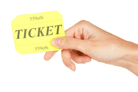 Womans hand holding a colorful ticket on white background close-up photo