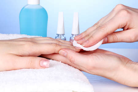 Manicure process in salon photo