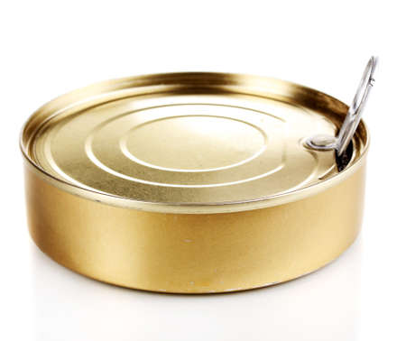 Tin can with pull ring isolated on white photo