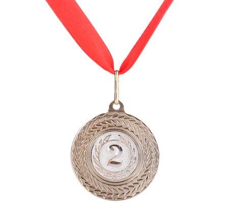 Medalla de plata aislado en blanco