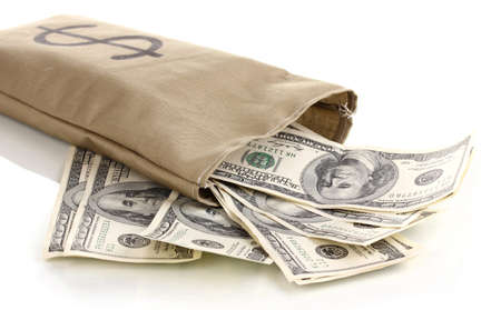 Bag with money close-up isolated on white photo