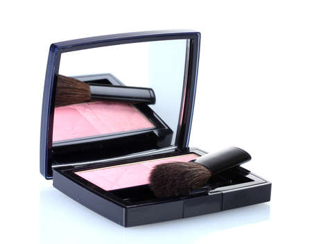 make-up blusher in box isolated on white Stock Photo