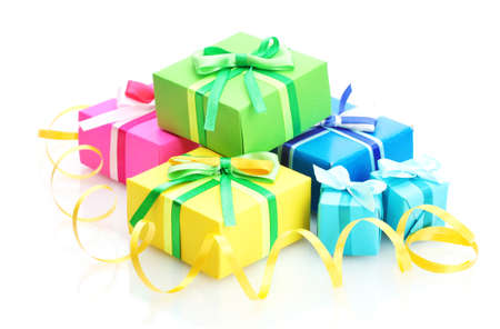 joy of giving: bright gifts with bows isolated on white
