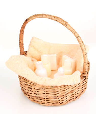 Hotel amenities kit in basket isolated on white Reklamní fotografie