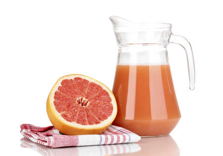 Grapefruit juice and grapefruit isolated on white photo