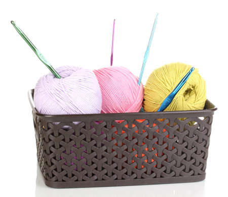 basket embroidery: Knitting yarn in plastic basket isolated on white